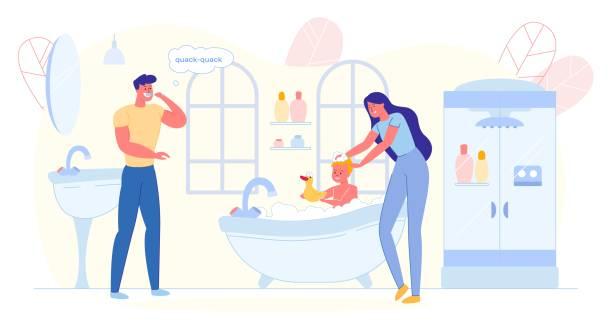 bildbanksillustrationer, clip art samt tecknat material och ikoner med son med bad med anka, mor tvätt barn. - baby bathtub