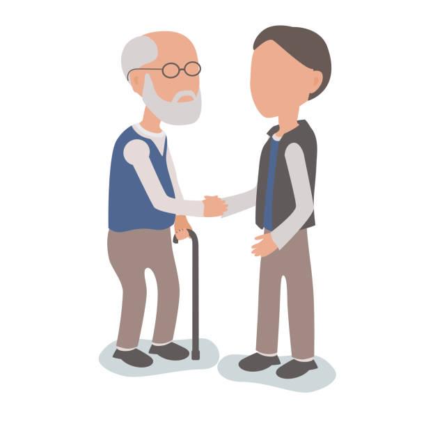 Unterstützung älteren Vater - Familie Sohn beizustehen Konzept – Vektorgrafik