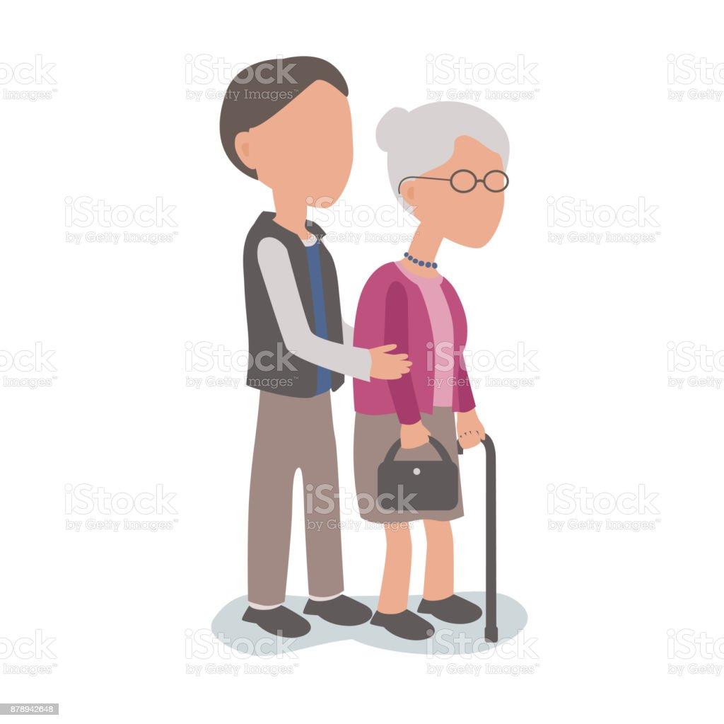 Hijo ayuda a anciana madre - familia ayudar a concepto - ilustración de arte vectorial