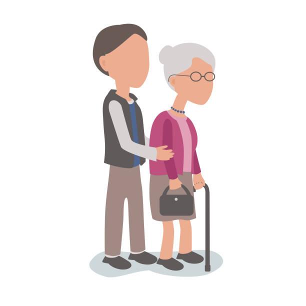 高齢の母親の家族を助ける息子の援助の概念 - 老年医学点のイラスト素材/クリップアート素材/マンガ素材/アイコン素材