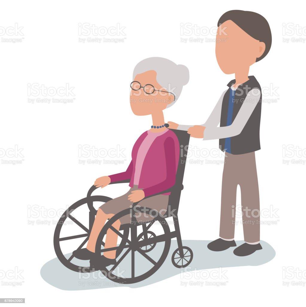 Hijo ayuda a anciana en silla de ruedas - ilustración de arte vectorial