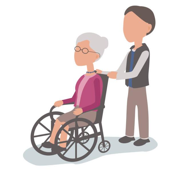 Sohn, Seniorin im Rollstuhl zu helfen – Vektorgrafik