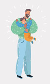 Vector cartoon illustration of little son hugging his senior dad.