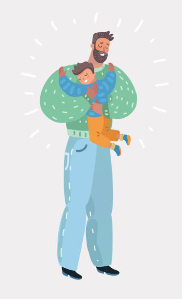 Son hugging his dad Vector cartoon illustration of little son hugging his senior dad. father stock illustrations