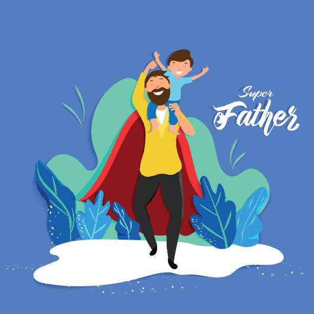 ilustrações, clipart, desenhos animados e ícones de filho que senta-se em seus ombros do paizinho para o conceito super da celebração do pai. pode ser usado como o projeto do poster ou do molde. - feliz dia dos pais