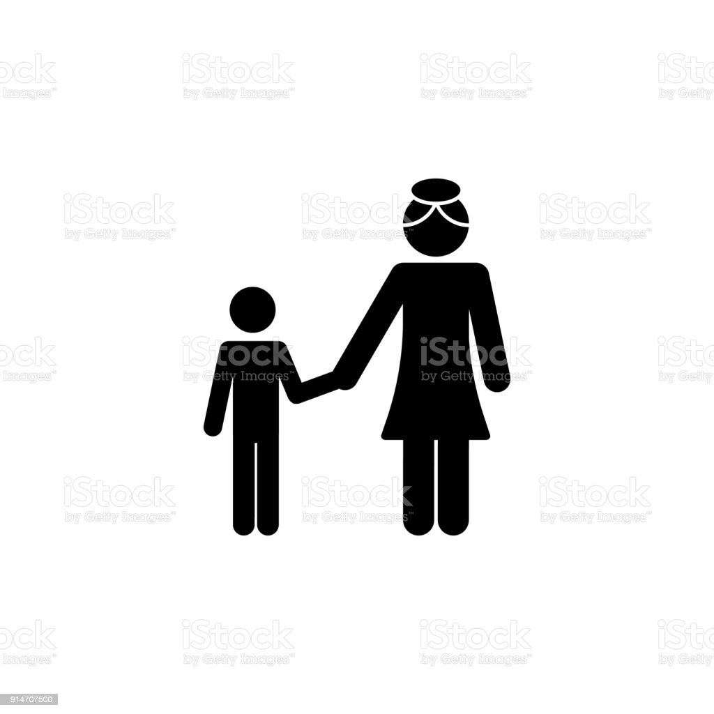 Son With Mother Hold Hands Icon Elements Of Happy Family Icon