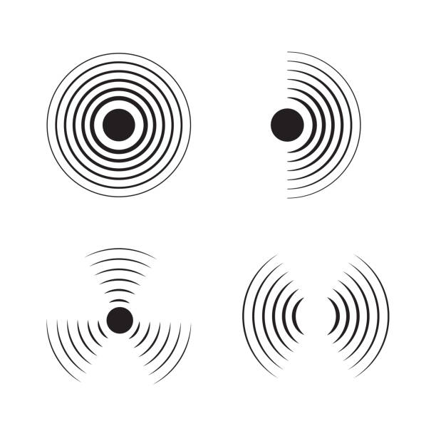 Sonar signal wave vector icon. Round pulse, sonic frequency. Graphic energy, radial pulse sign on isolated background. Black simple target circle. Radar icon. Abstract loud sound simbol. Sonar signal wave vector icon. Round pulse, sonic frequency. Graphic energy, radial pulse sign on isolated background. Black simple target circle. Radar icon. Abstract loud sound simbol sine wave stock illustrations