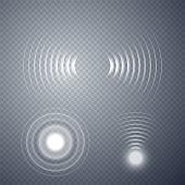Sonar vector illustration. Radar sign isolated on transparent background.