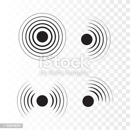 Sonar wave sign. Vector illustration. Radar icon