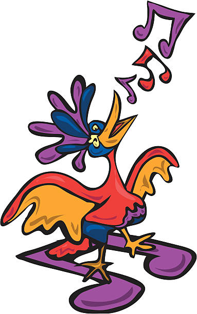 Song Bird Singing vector art illustration