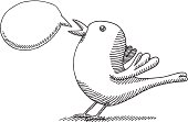 Hand-drawn vector drawing of a Twitter Bird with a Speech Bubble. Black-and-White sketch on a transparent background (.eps-file). Included files: EPS (v8) and Hi-Res JPG.