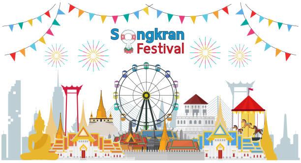 songkran festival at thailand 2019, vector template - songkran festival stock illustrations, clip art, cartoons, & icons