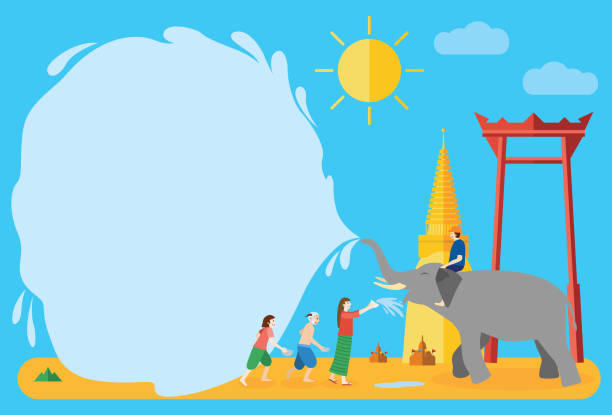 songkran festival  banner, thai new year's day - songkran festival stock illustrations, clip art, cartoons, & icons