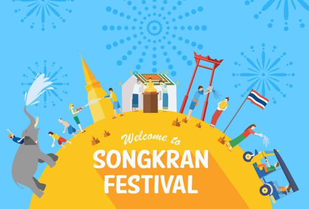 songkran festival banner, thai new year's day, vector illustration - songkran festival stock illustrations, clip art, cartoons, & icons