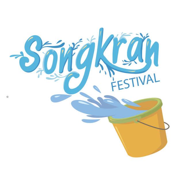 songkran festival bucket of water background vector image - songkran festival stock illustrations, clip art, cartoons, & icons