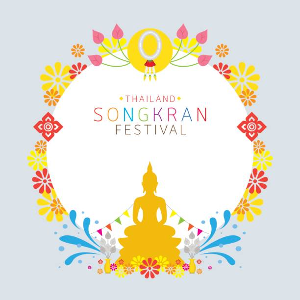 songkran festival, buddhism, frame - songkran festival stock illustrations, clip art, cartoons, & icons