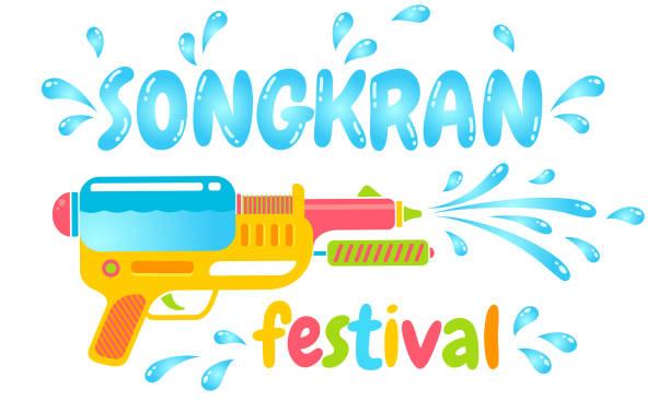 songkran festival in thailand - songkran festival stock illustrations, clip art, cartoons, & icons