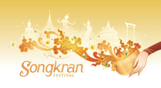 stockillustraties, clipart, cartoons en iconen met songkran festival in thailand vector, thaise traditionele, gold water splash met landmark in thailand - thaise munt
