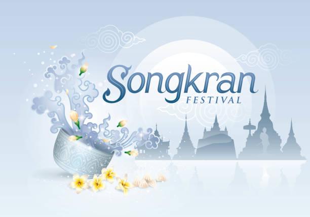 stockillustraties, clipart, cartoons en iconen met songkran festival in thailand vector, traditionele thai, thaise water splash - thaise munt