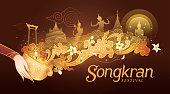 Songkran Festival in Thailand Vector, Thai traditional, Thai Water Splash with Landmark in Thailand and Jasmine Flowers