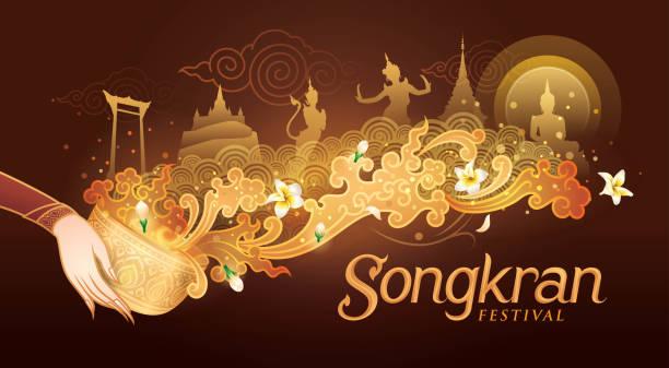 songkran festival w tajlandii vector, tajski tradycyjny, tajski water splash z landmark w tajlandii i jasmine flowers - tajlandia stock illustrations