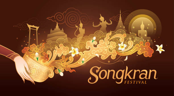 潑水節節日在泰國媒介, 泰國傳統, 泰國水飛濺與地標在泰國和茉莉花花 - 泰國 幅插畫檔、美工圖案、卡通及圖標