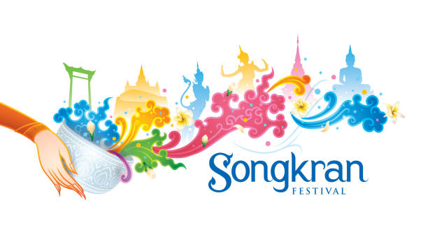 stockillustraties, clipart, cartoons en iconen met songkran festival in thailand vector, thaise traditionele - thaise munt
