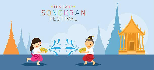 songkran festival, kids playing water in temple - songkran festival stock illustrations, clip art, cartoons, & icons