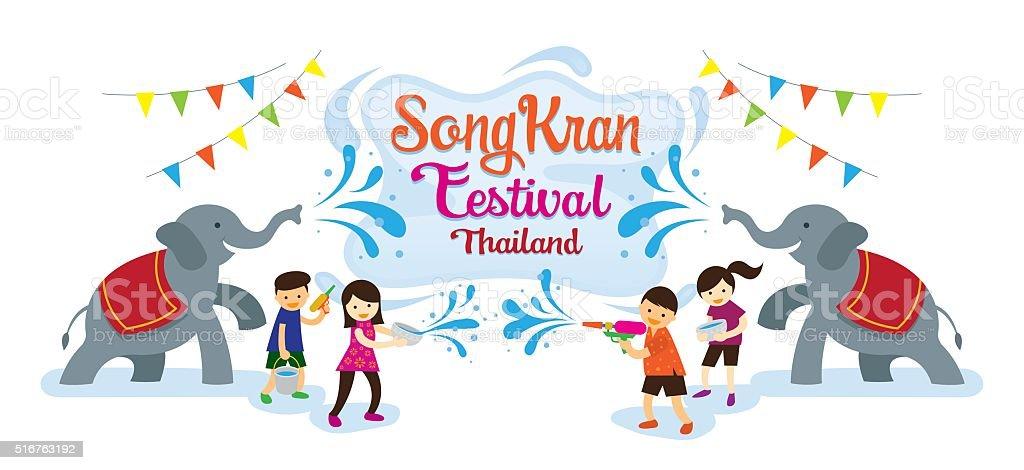 Songkran Festival, Kinder spielen Wasser mit Elefanten – Vektorgrafik