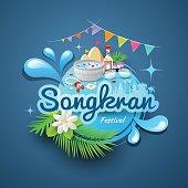 Songkran festival of Thailand design concept water background, vector illustration