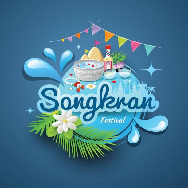songkran festival of thailand design - songkran festival stock illustrations, clip art, cartoons, & icons