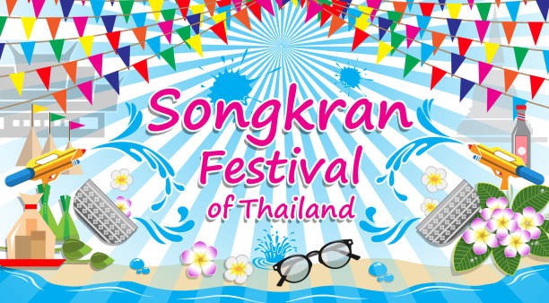 songkran festival of thailand, vector sign symbol - songkran festival stock illustrations, clip art, cartoons, & icons