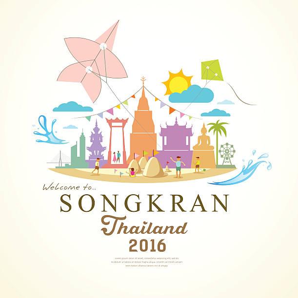 songkran festival period of april of thailand - songkran festival stock illustrations, clip art, cartoons, & icons