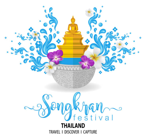 songkran festival, thailand travel concept - the most beautiful places to visit in thailand - in flat style. - songkran festival stock illustrations, clip art, cartoons, & icons