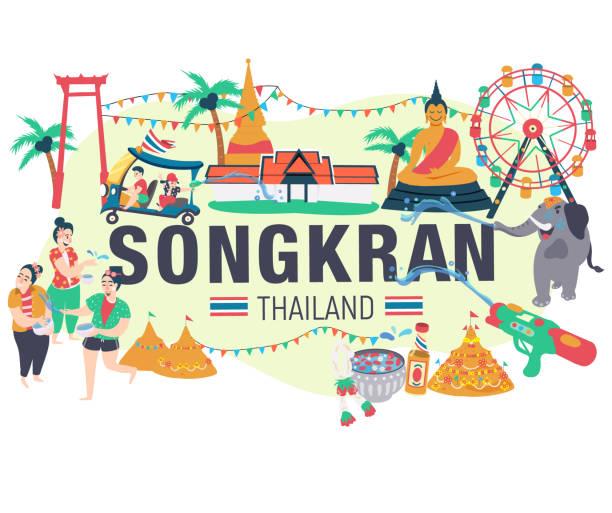 songkran festival - songkran festival stock illustrations, clip art, cartoons, & icons