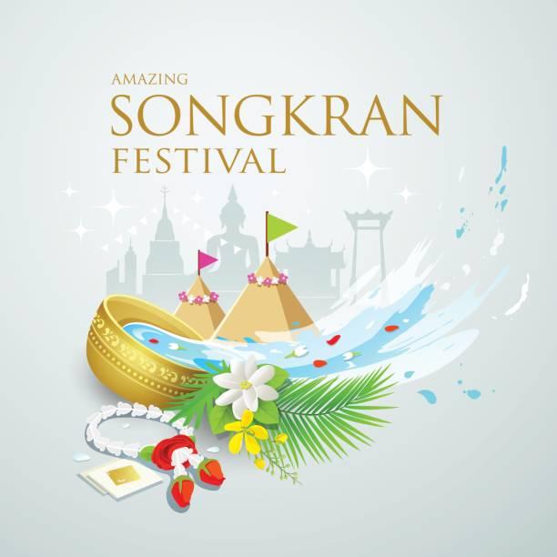 songkran festival water splash of thailand - songkran festival stock illustrations, clip art, cartoons, & icons
