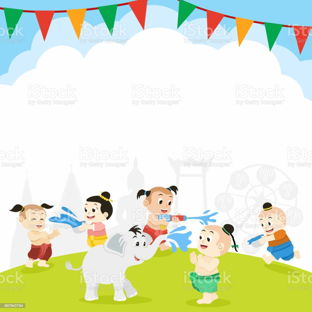 songkran thai new year festival illustration of thai children playing with water vector