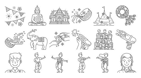 Songkran thailand festival linear icon