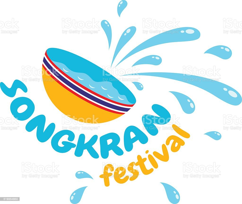 Songkran water festival vector art illustration