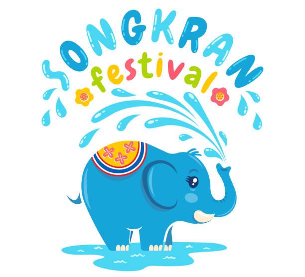 songkran water festival. - songkran festival stock illustrations, clip art, cartoons, & icons
