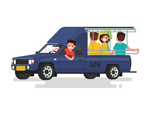 songteo taxi oder ein tuk-tuk mit passagiere. vektor-illustration - pattaya stock-grafiken, -clipart, -cartoons und -symbole