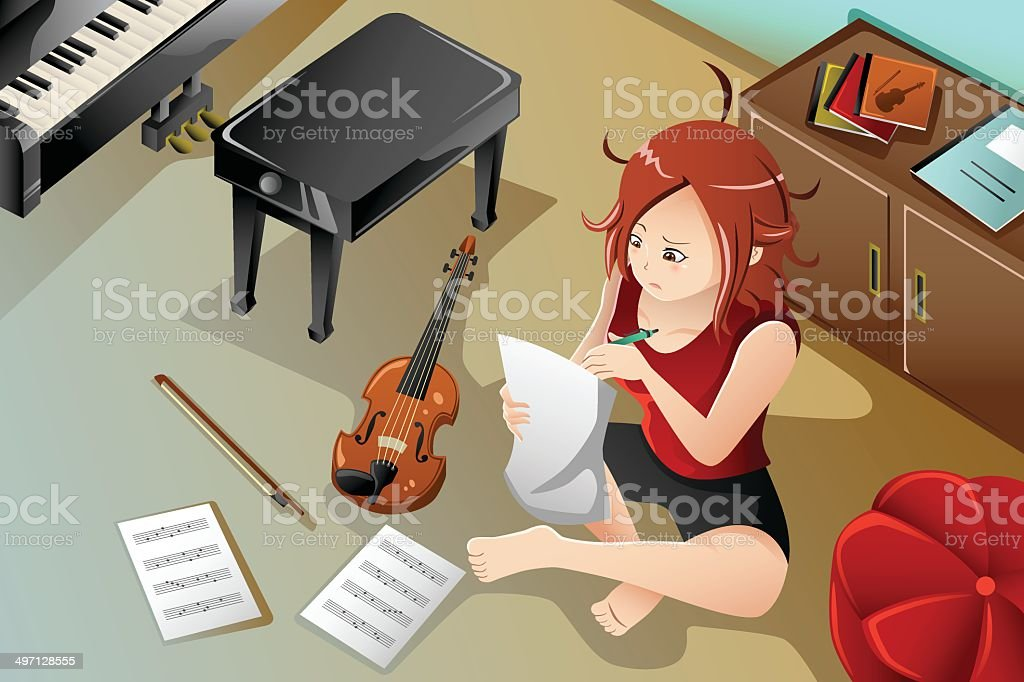 Songwriter with her violin vector art illustration