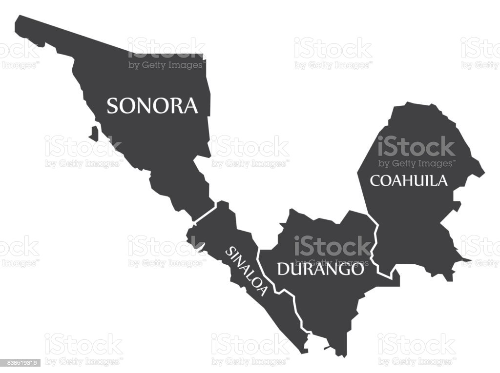 Sinaloa State Map.Sonora Sinaloa Durango Coahuila Map Mexico Illustration Stock Vector
