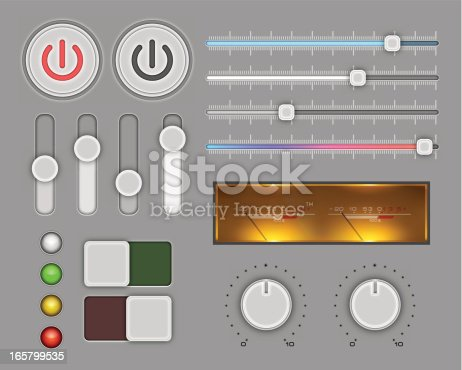 Vector illustration with elements of the control panel. EPS10 with effect transparent shadows, inner glow and outer glow.