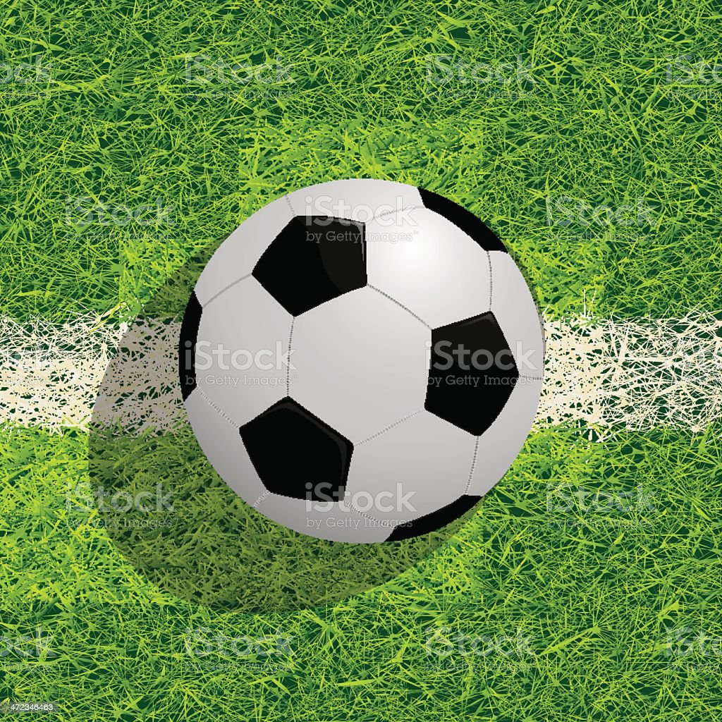 Soocer ball on the field vector art illustration