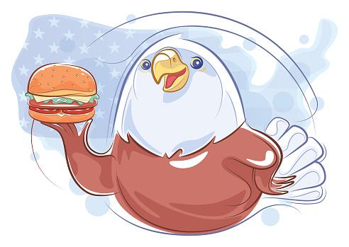 soon eagle holding hamburger