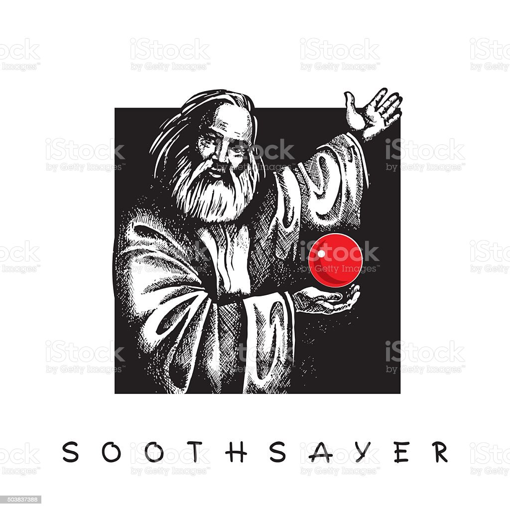 Soothsayer with red Crystal ball. vector art illustration