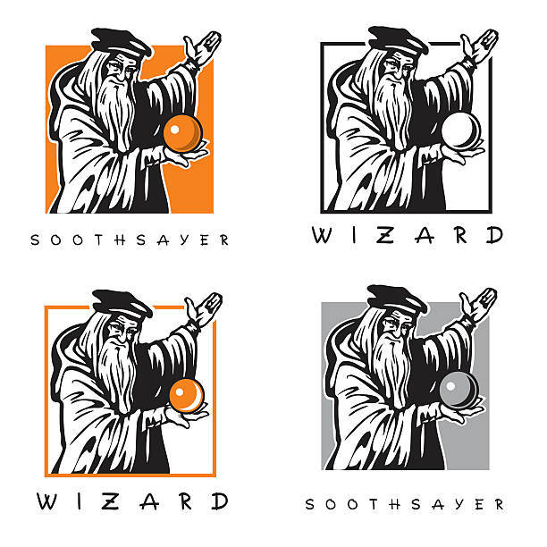 Soothsayer, wizard. Old man with magic crystal ball. vector art illustration