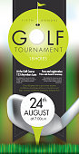 Vector illustration of golf tournament invitation layout or poster advertisement design template.Green, dark gray color scheme.  Includes sample text design elements and golf tee, golf course and clubs background. Perfect for golf outing, tournament, golf course advertisement poster and charity sporting event. See my portfolio for other invitations and golf concepts.