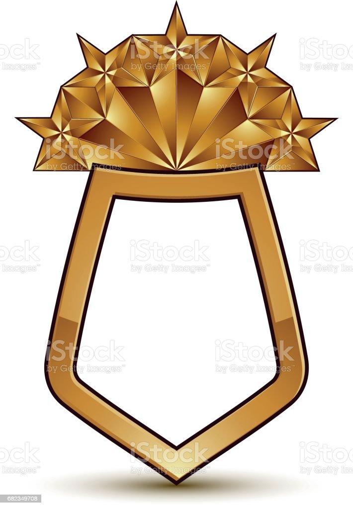 Sofistikerade vektor skölden med en gyllene stjärna emblem, 3d månghörniga glamorösa designelement, rensa EPS 8. royaltyfri sofistikerade vektor skölden med en gyllene stjärna emblem 3d månghörniga glamorösa designelement rensa eps 8-vektorgrafik och fler bilder på allegorisk målning